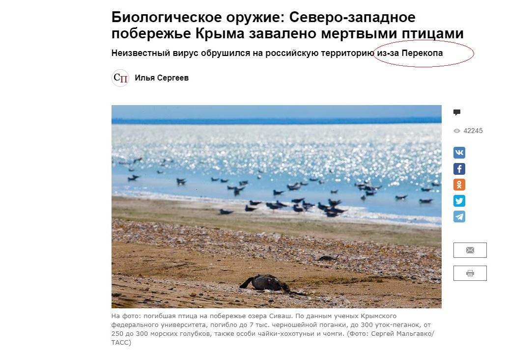 """Скриншот с российского сайта """"Свободная пресса""""."""