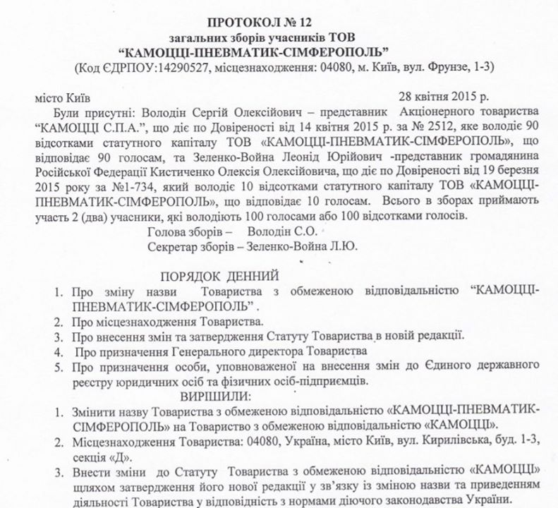 Протокол собрания про изменение названи